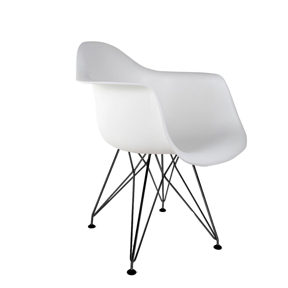 Cadeira Eames com Braços Branca - Base Eiffel Preta