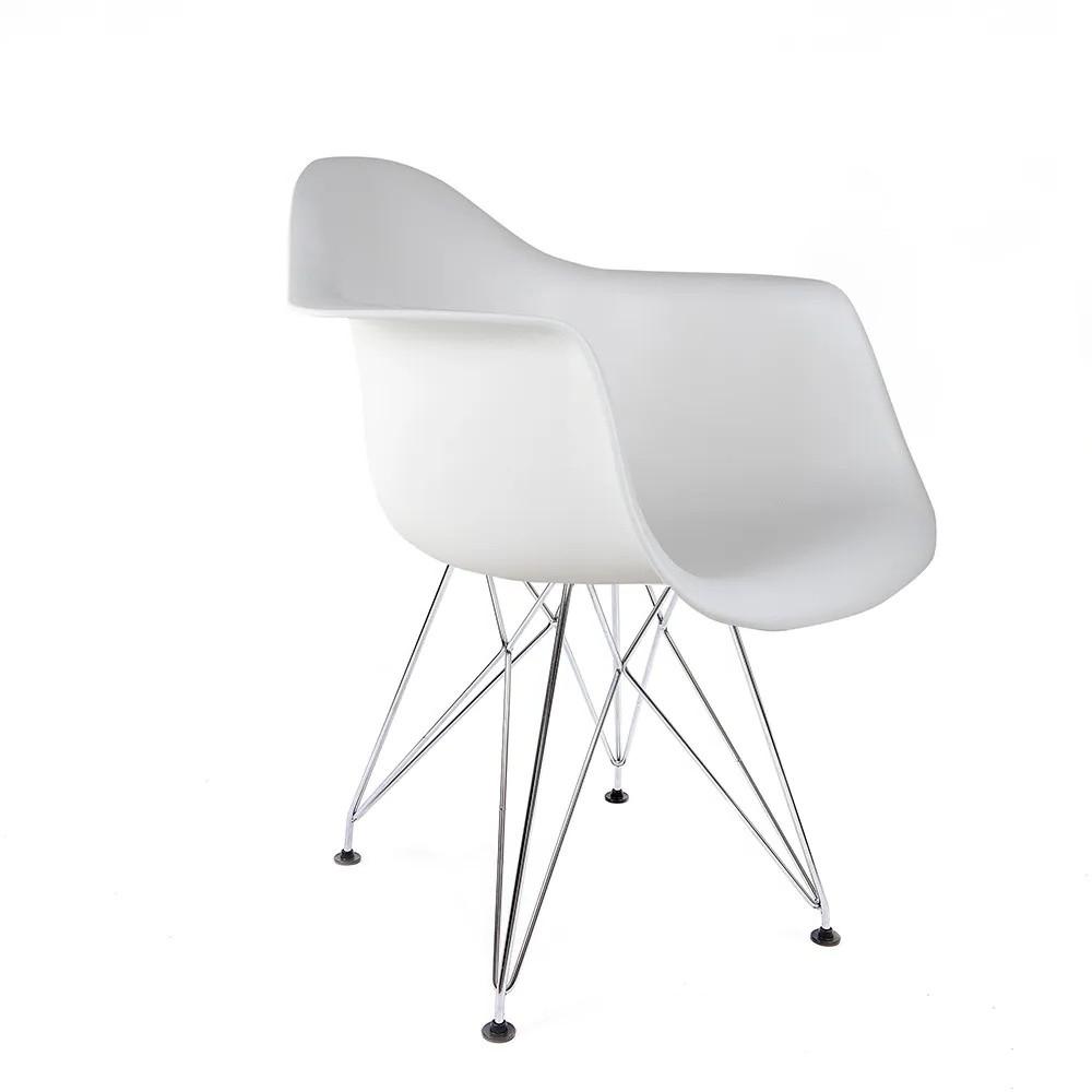Cadeira Eames com Braços Branca - Base Eiffel Cromada