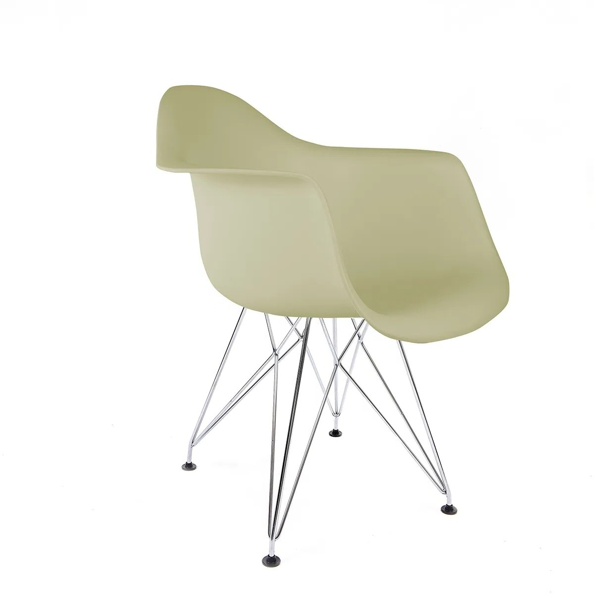 Cadeira Eames com Braços Fendi - Base Eiffel Cromada