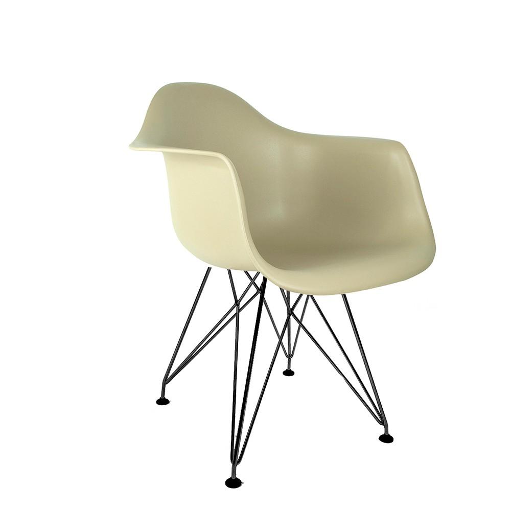 Cadeira Eames com Braços Fendi - Base Eiffel Preta