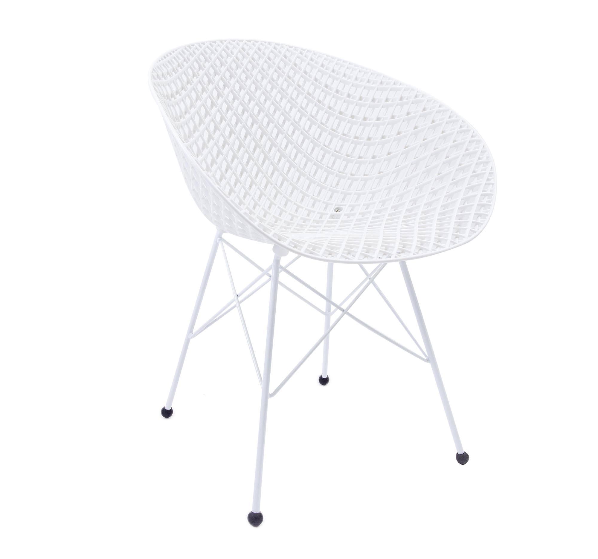 Cadeira Maglia Branca - Base de Aço Branca
