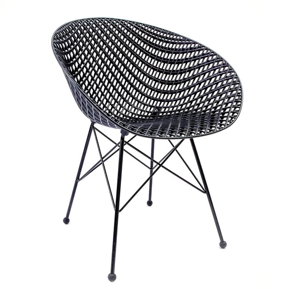 Cadeira Maglia Preta - Base de Aço Preta