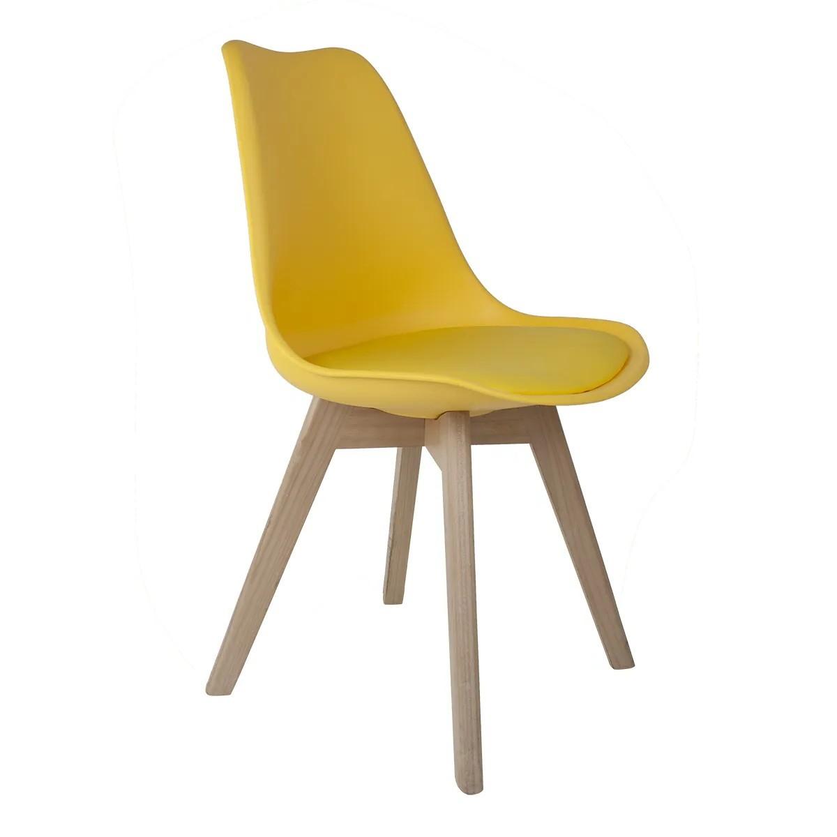 Cadeira Saarinen Amarela - Base Wood