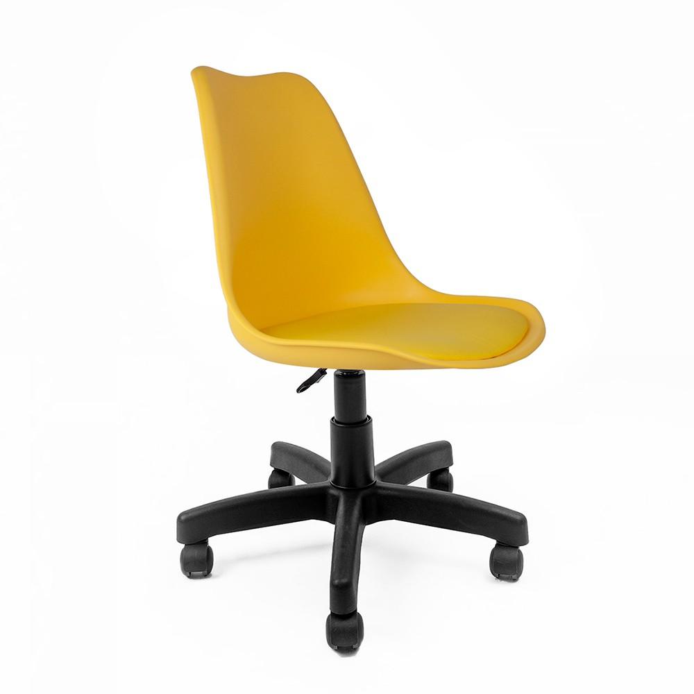 Cadeira Saarinen Amarela - Base Office Preta