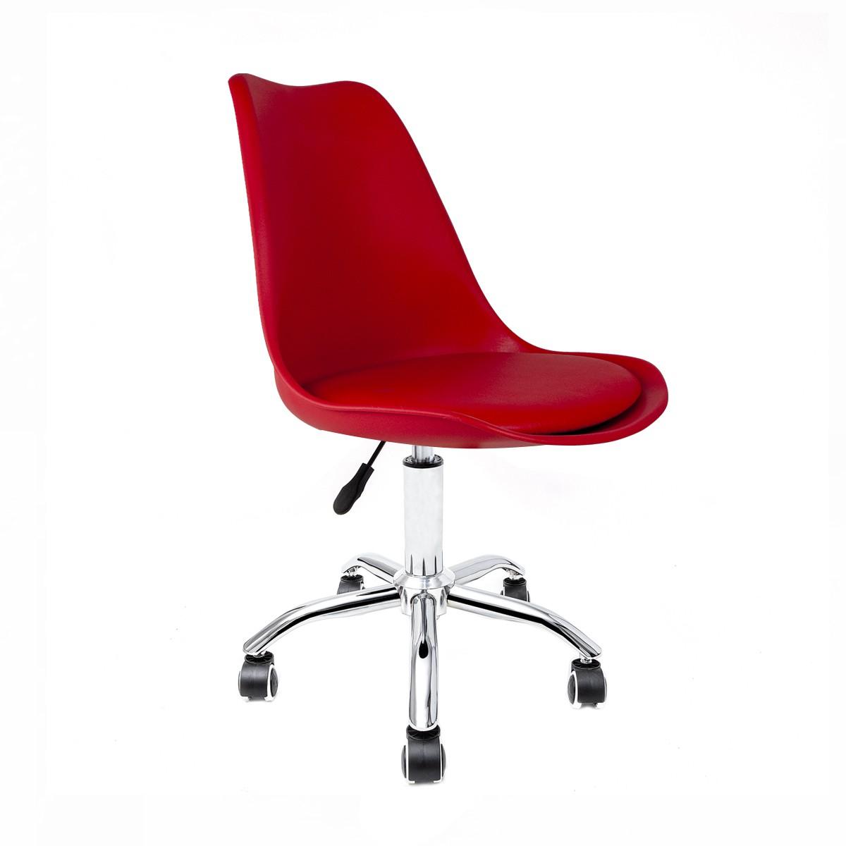 Cadeira Saarinen Vermelha - Base Office Cromada