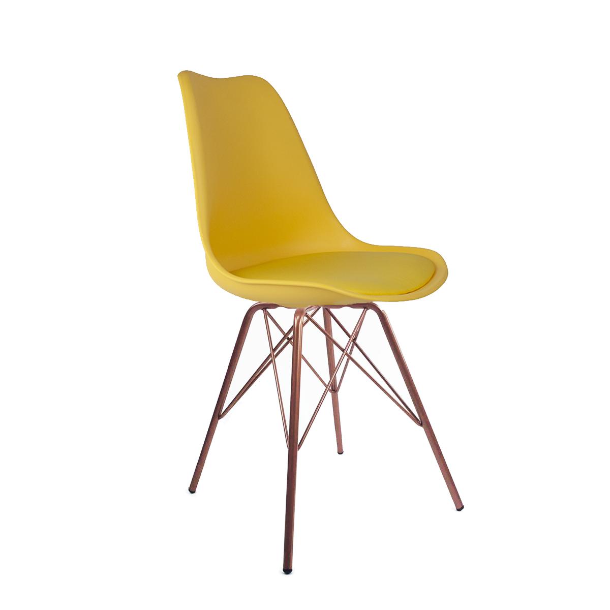 Cadeira Saarinen Amarela - Base Tower Cobre