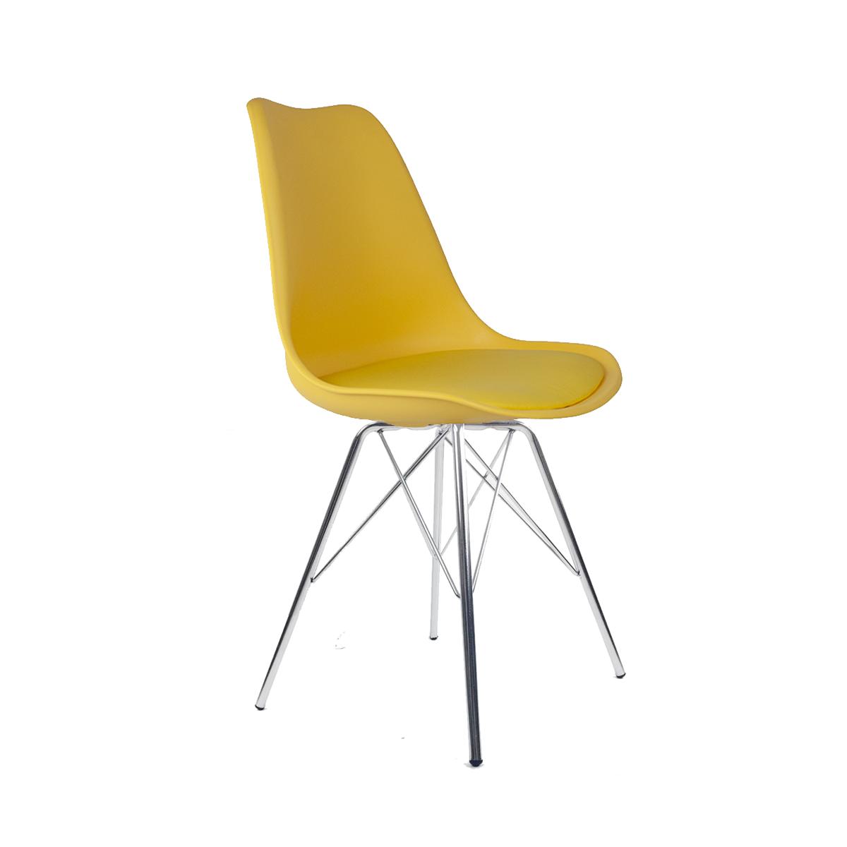 Cadeira Saarinen Amarela - Base Tower Cromado