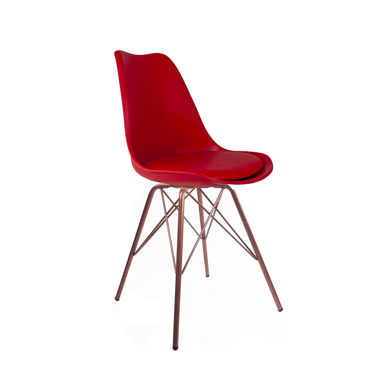 Cadeira Saarinen Vermelha - Base Tower Cobre