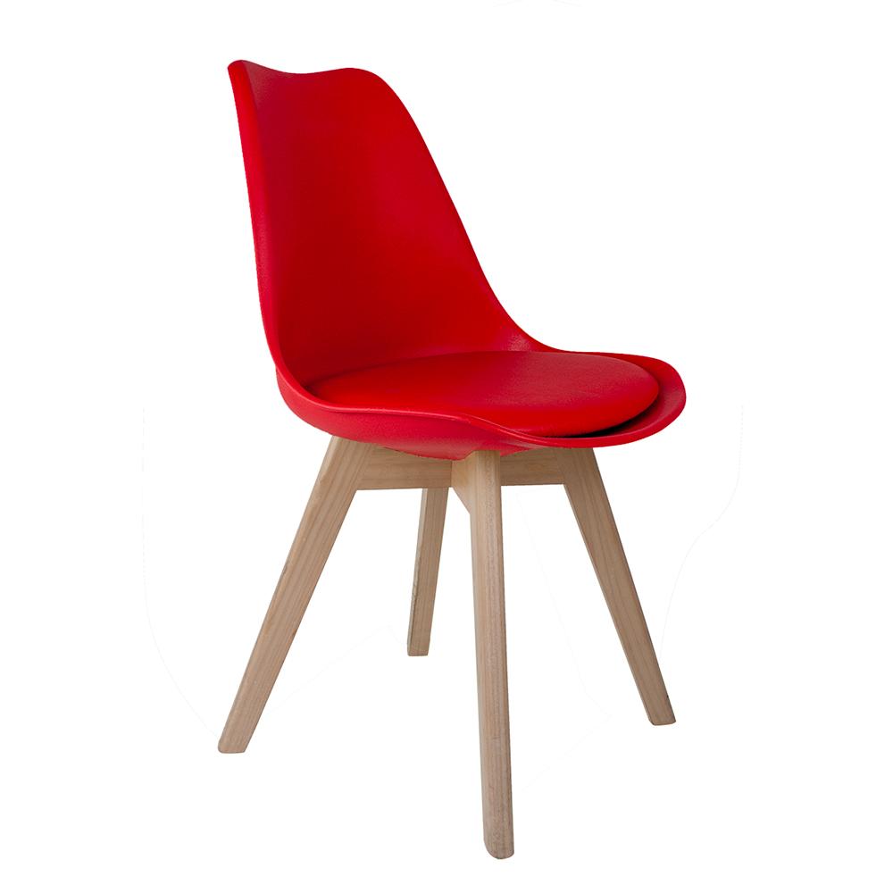 Cadeira Saarinen Vermelha - Base Wood