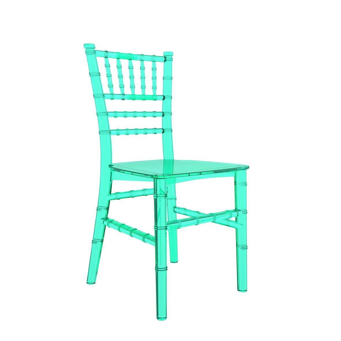 Cadeira Tiffany Infantil Policarbonato Cristal Verde