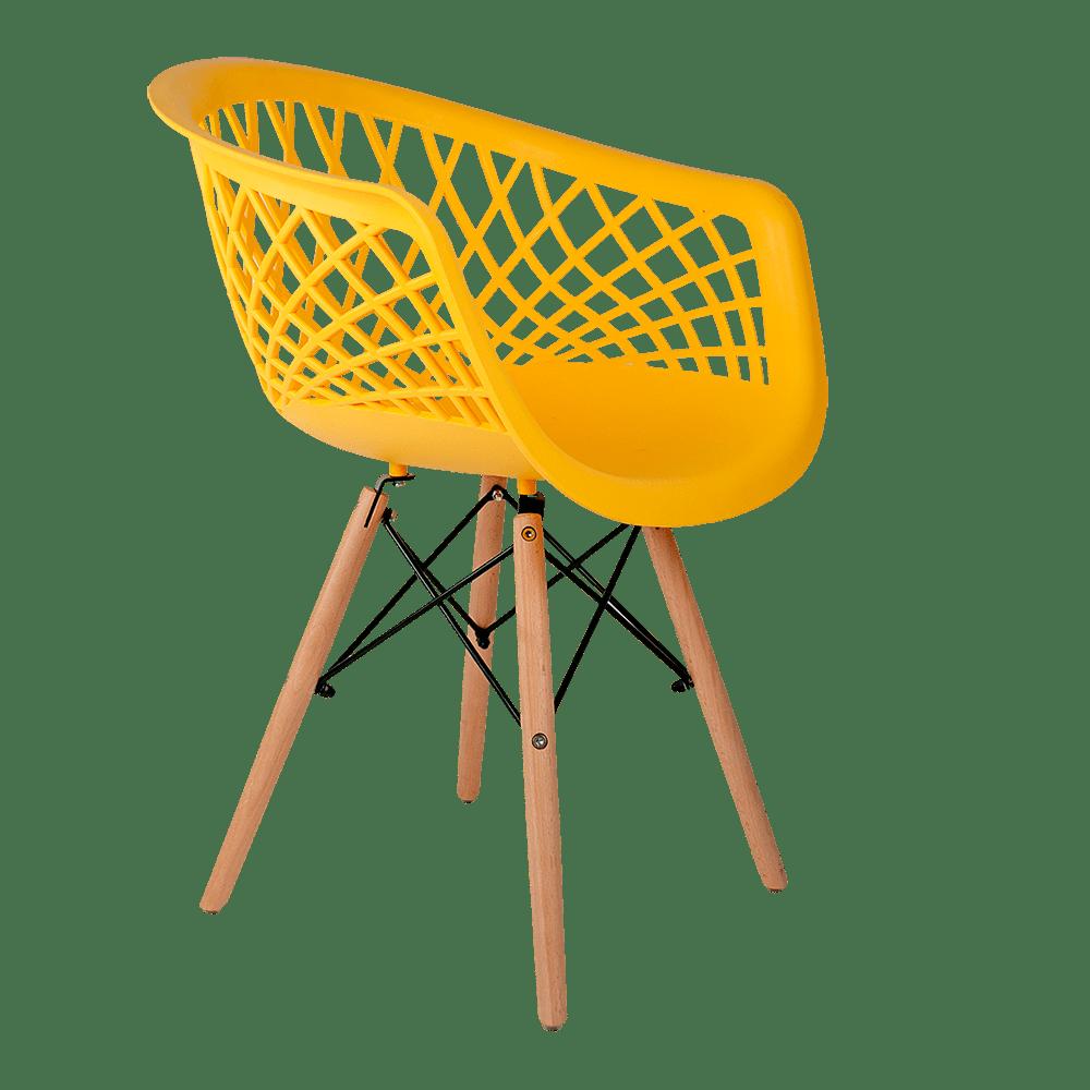 Cadeira Web Amarela - Base Madeira Natural