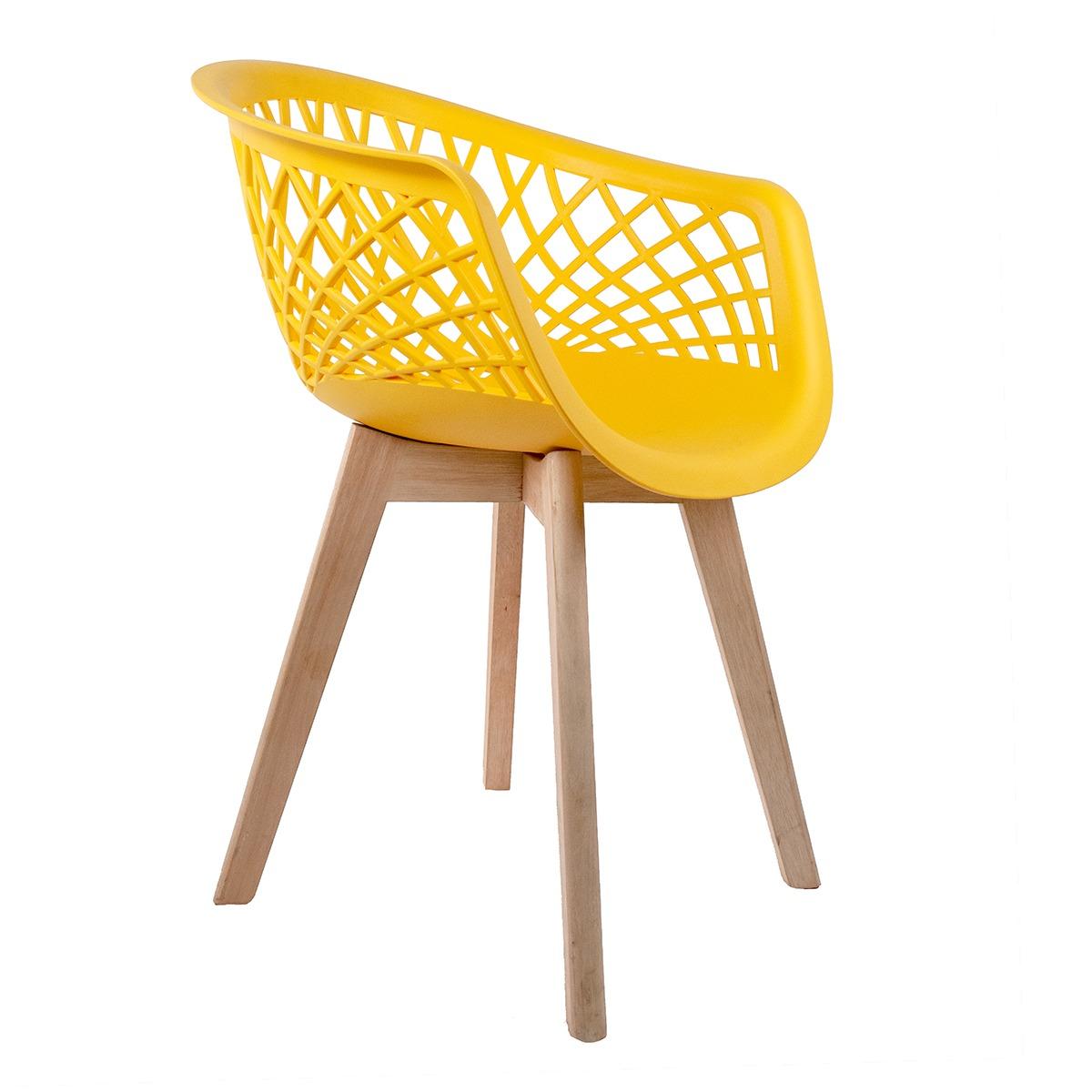 Cadeira Web Amarela - Base Wood