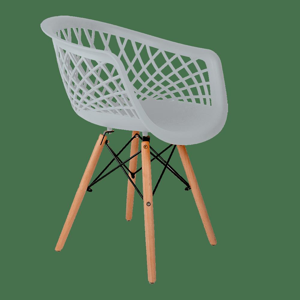 Cadeira Web Branca - Base Madeira Natural