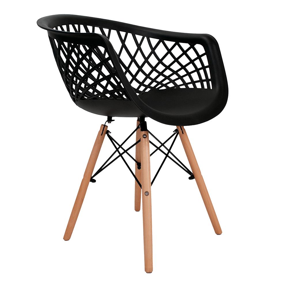 Cadeira Web Preta - Base Madeira Natural