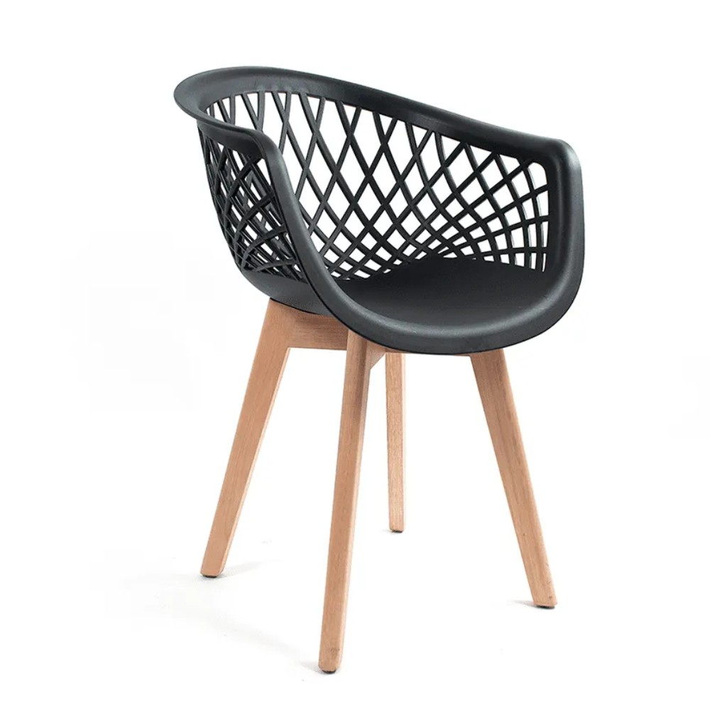 Cadeira Web Preta - Base Wood