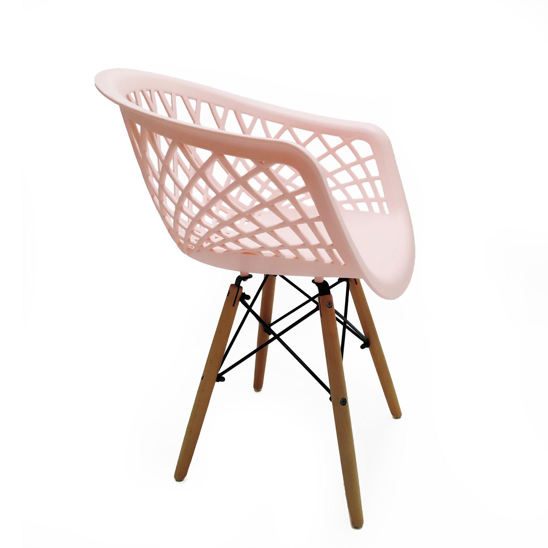 Cadeira Web Rosa - Base Madeira Natural