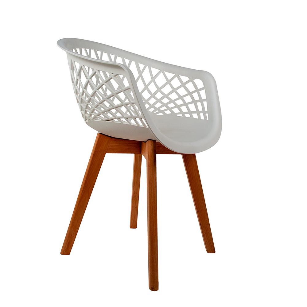 Cadeira Web Branca - Base Wood