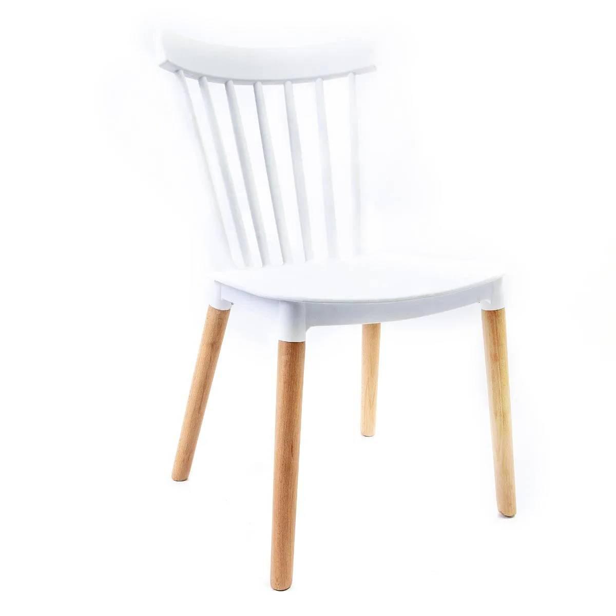 Cadeira Windsor Branca - Base Madeira Natural