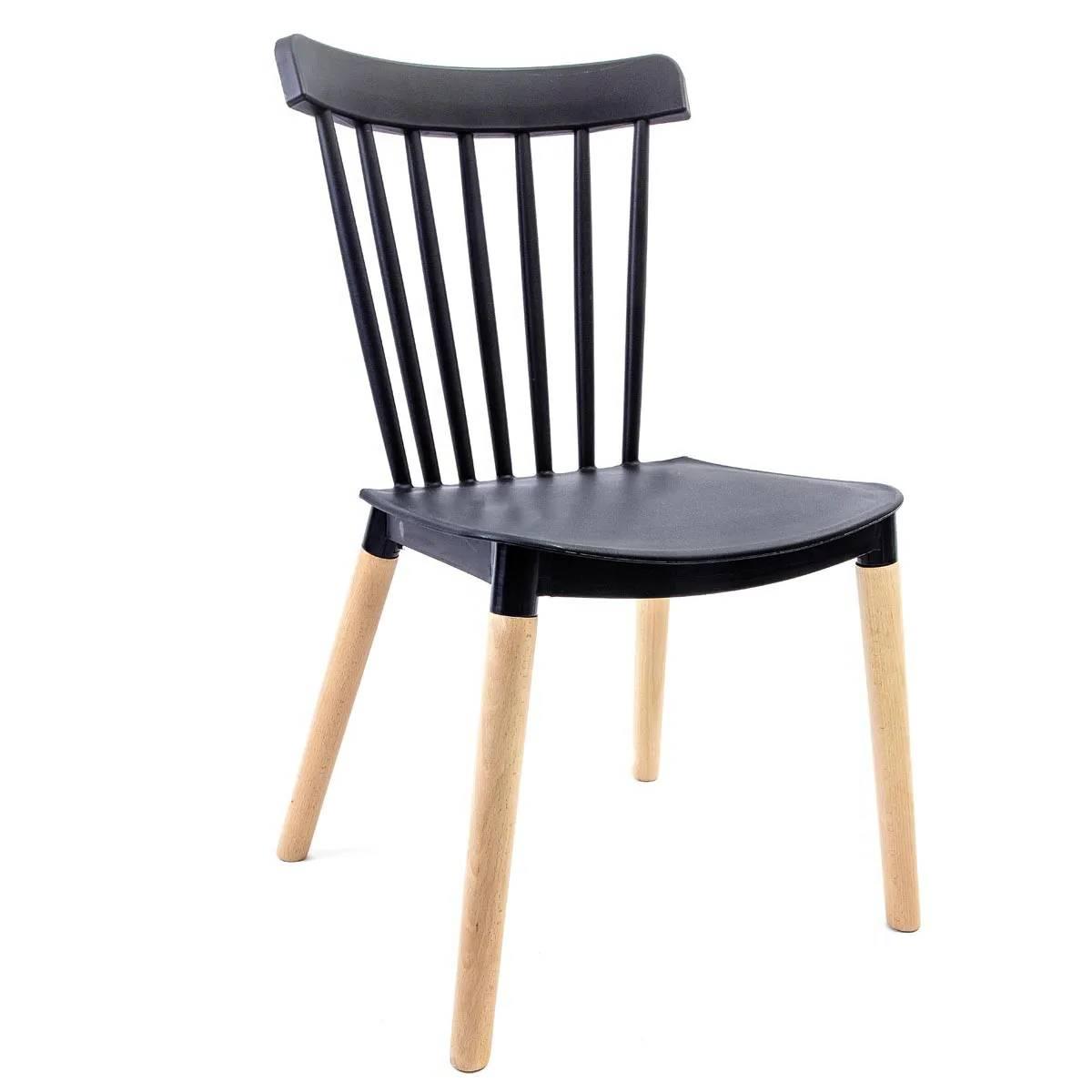 Cadeira Windsor Preta - Base Madeira Natural