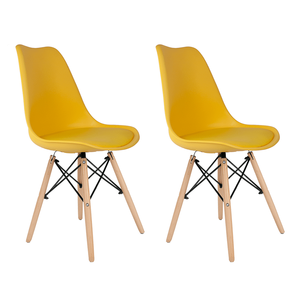 Conjunto com 2 Cadeiras Saarinen Amarela - Base Madeira Natural