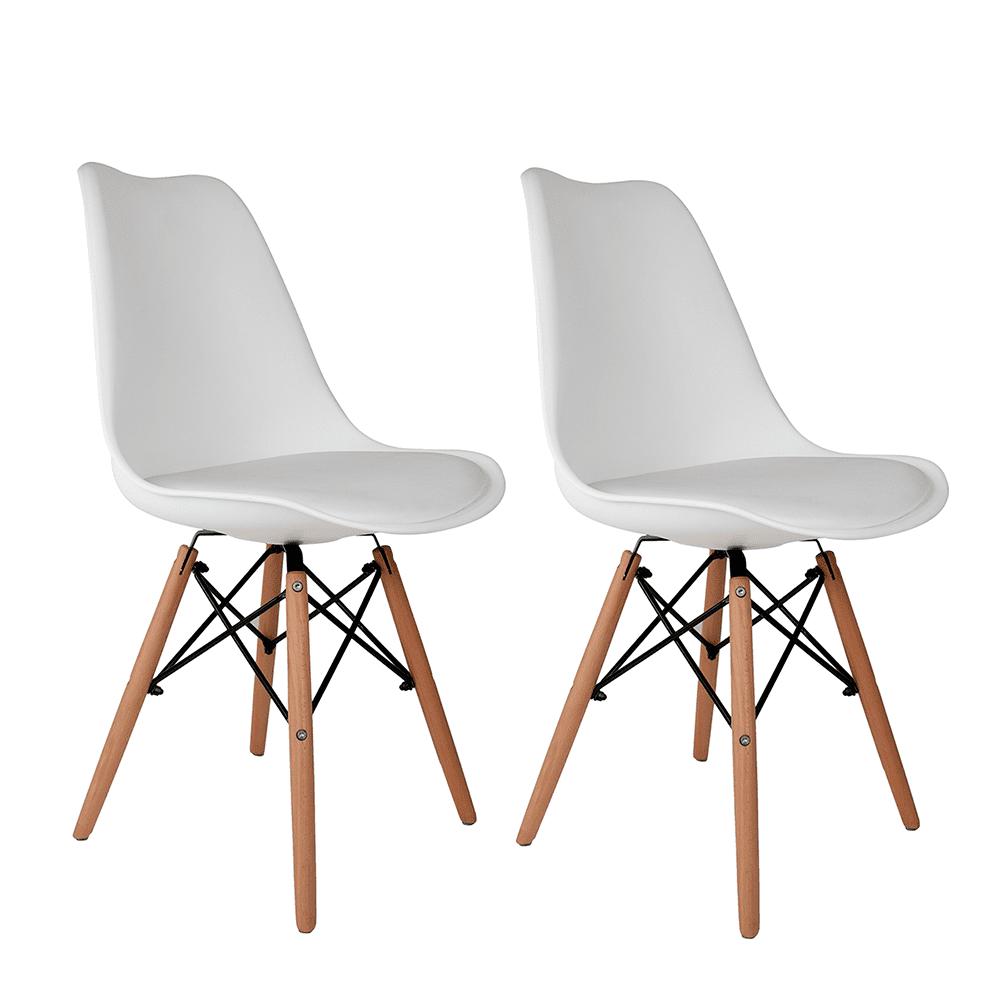 Conjunto com 2 Cadeiras Saarinen Branca - Base Madeira Natural