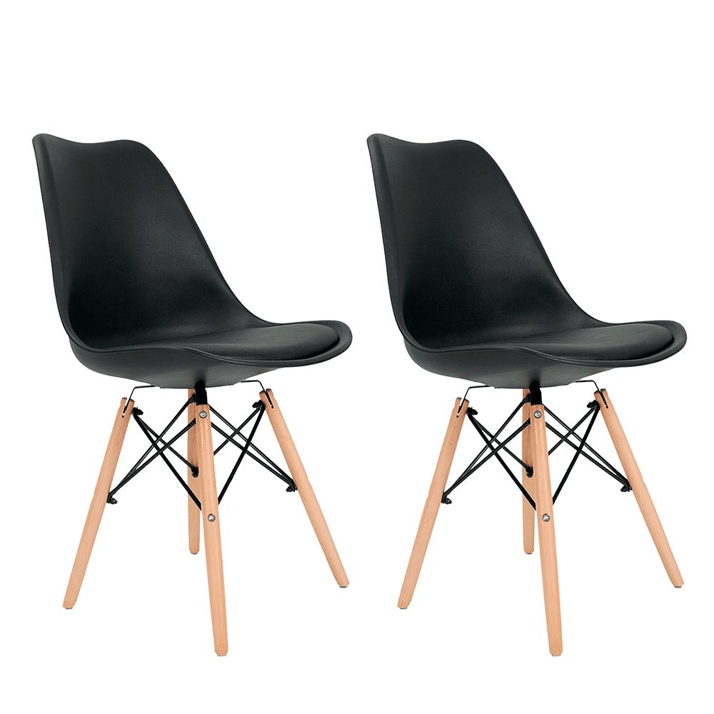 Conjunto com 2 Cadeiras Saarinen Preta - Base Madeira Natural