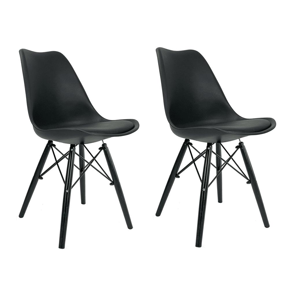 Conjunto com 2 Cadeiras Saarinen Black Edition - Base Preta
