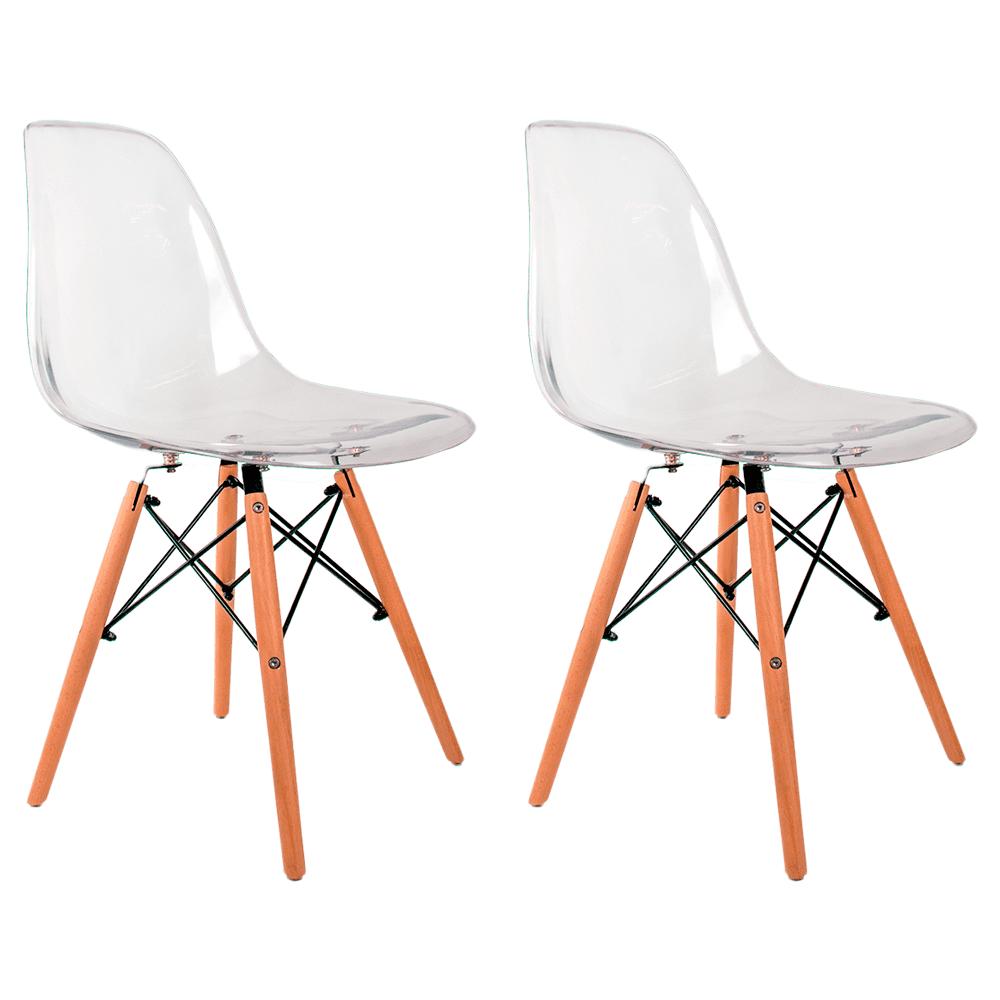 Conjunto com 2 Cadeiras Eames Transparente - Base Madeira Natural