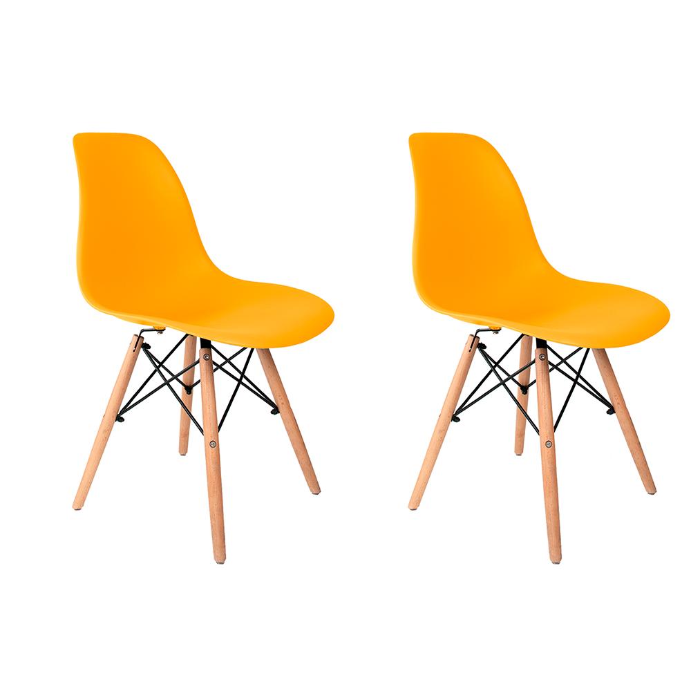Conjunto com 2 Cadeiras Eames Amarela - Base Madeira Natural