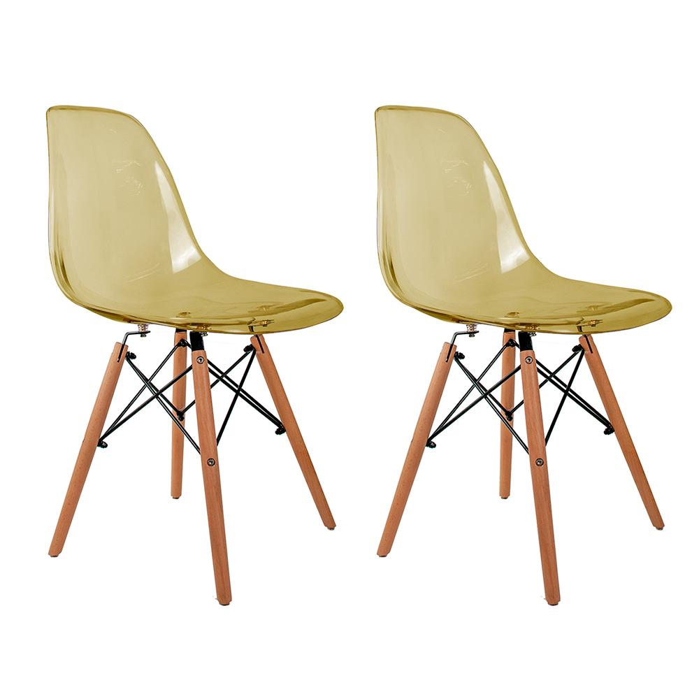 Conjunto com 2 Cadeiras Eames Âmbar - Base Madeira Natural