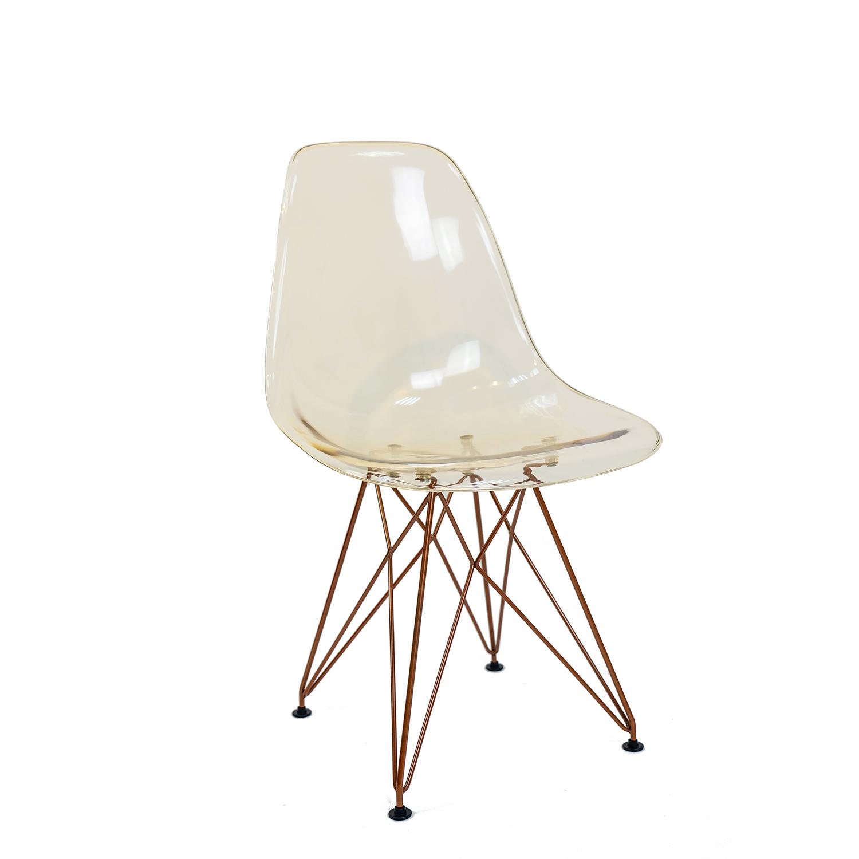 Conjunto com 2 Cadeiras Eames Âmbar - Base Eiffel Cobre