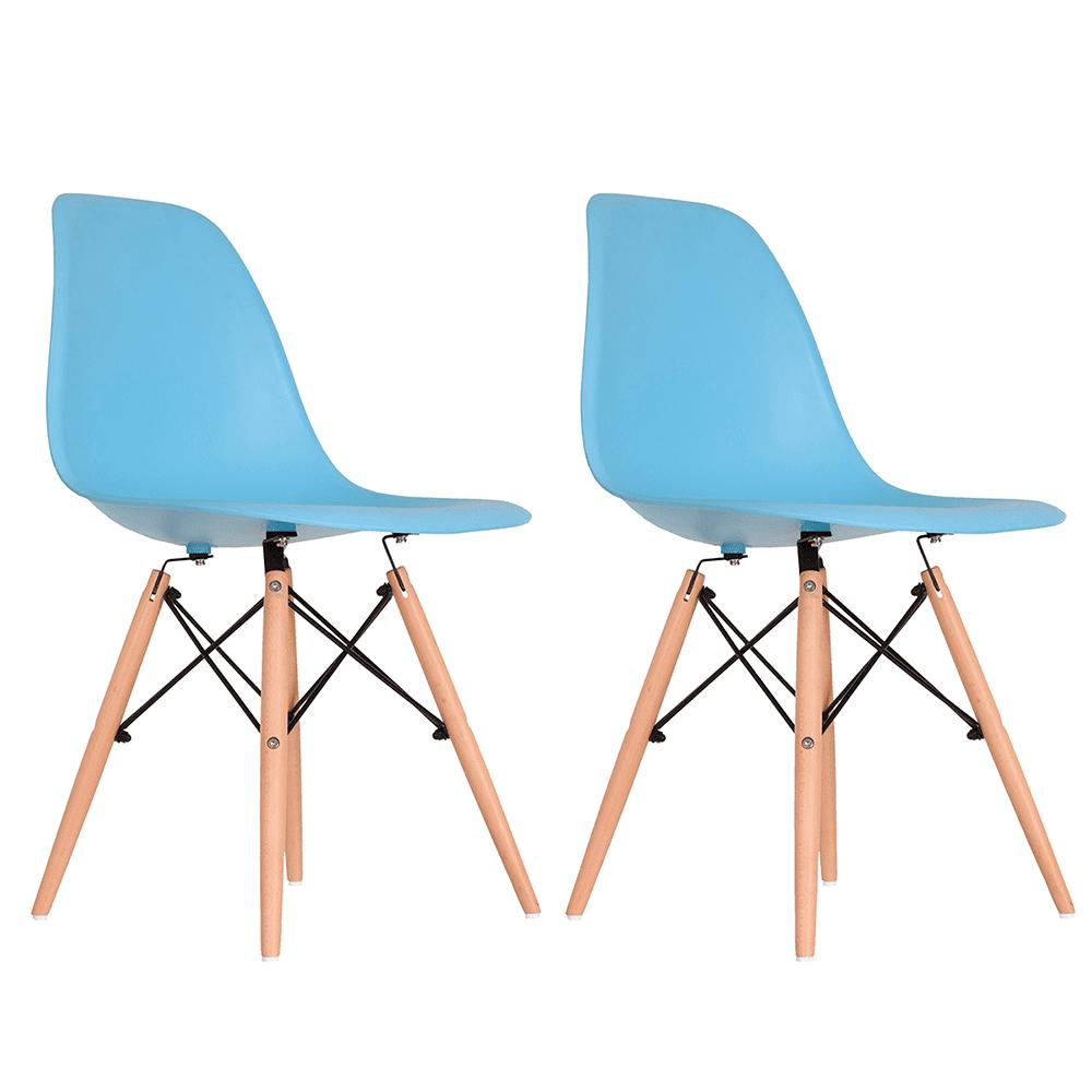 Conjunto com 2 Cadeiras Eames Azul - Base Madeira Natural