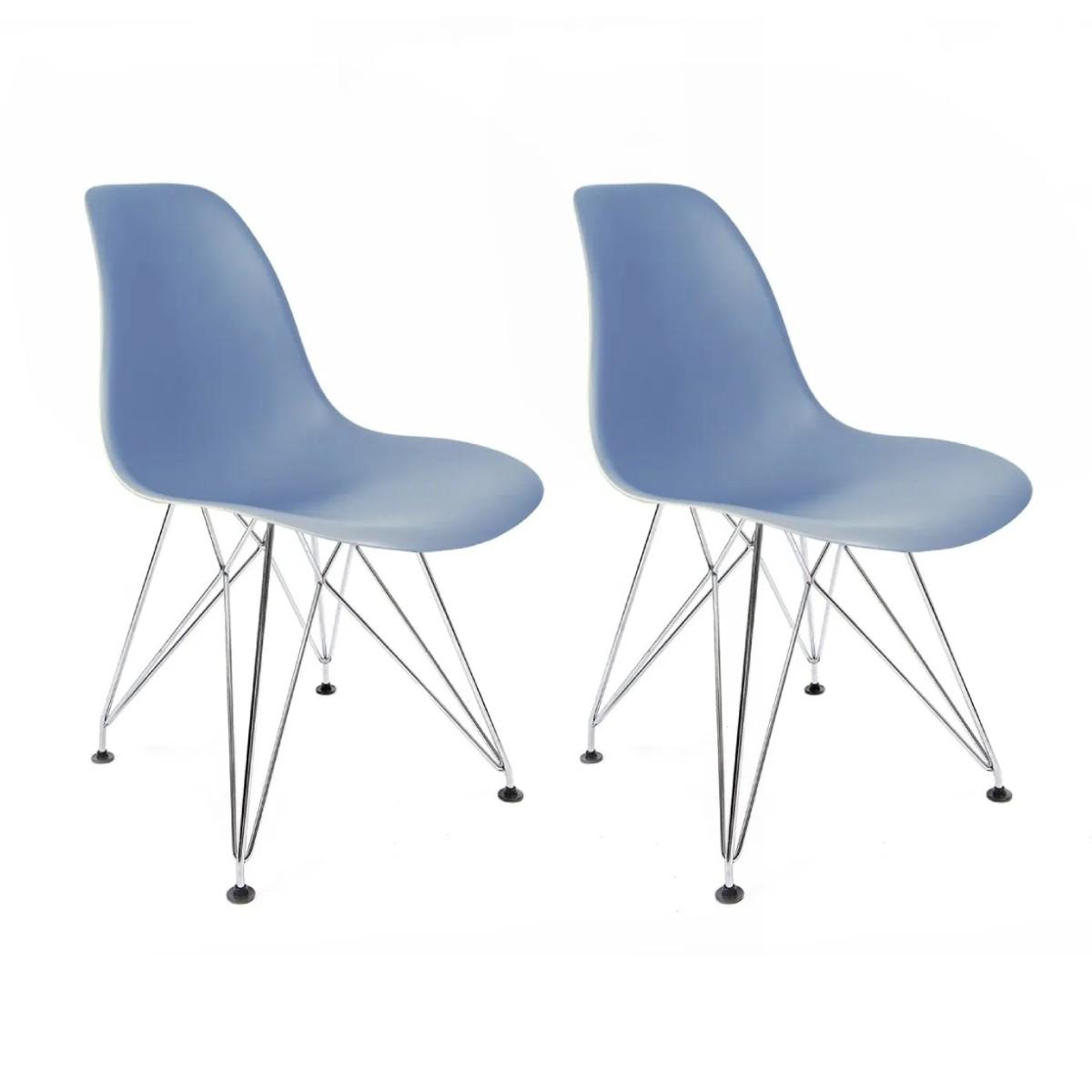 Conjunto com 2 Cadeiras Eames Azul - Base Eiffel Cromada