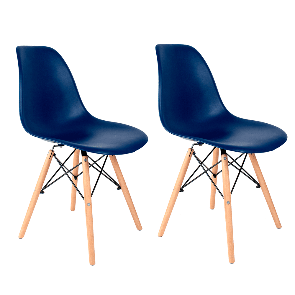 Conjunto com 2 Cadeiras Eames Azul Bic - Base Madeira Natural