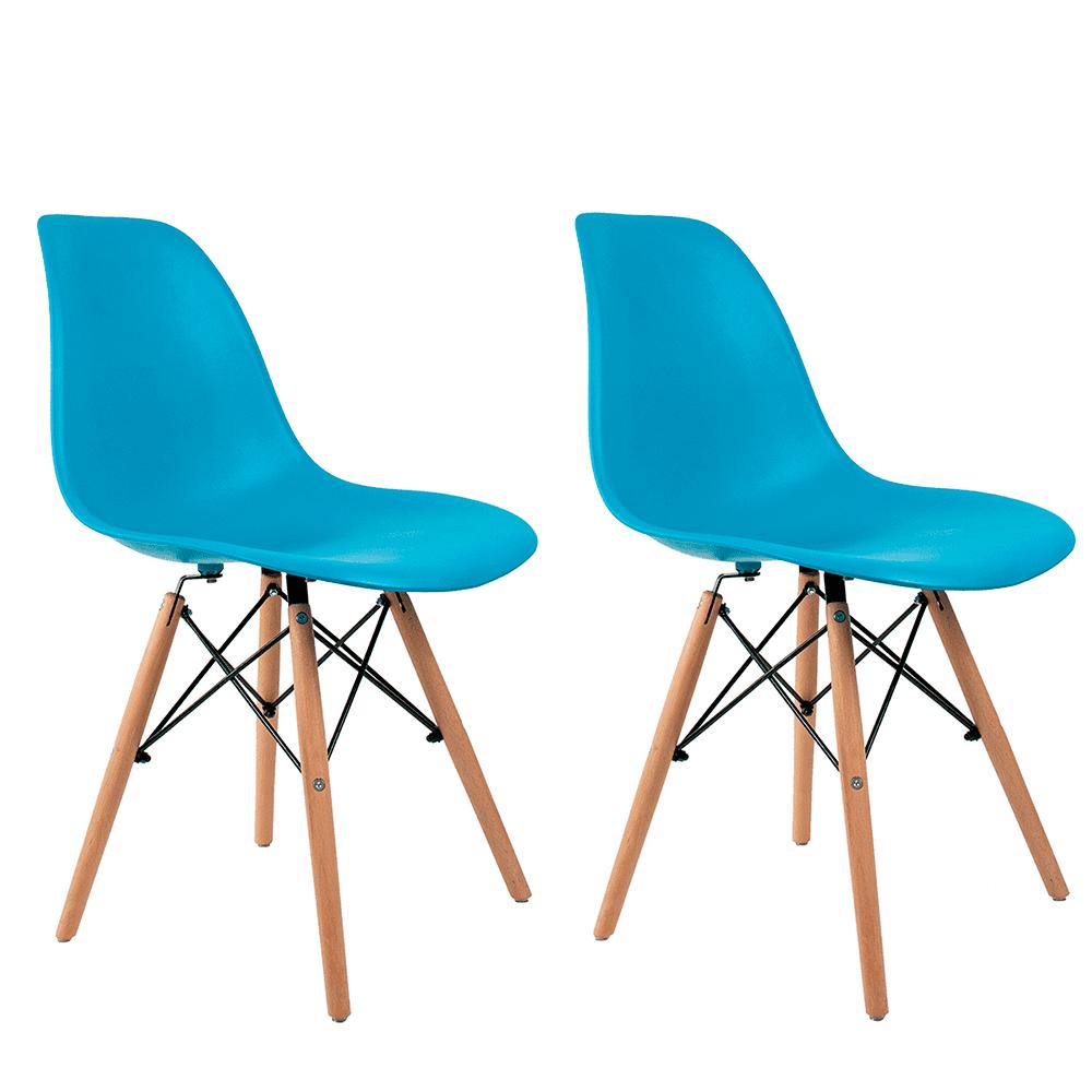 Conjunto com 2 Cadeiras Eames Azul Turquesa - Base Madeira Natural