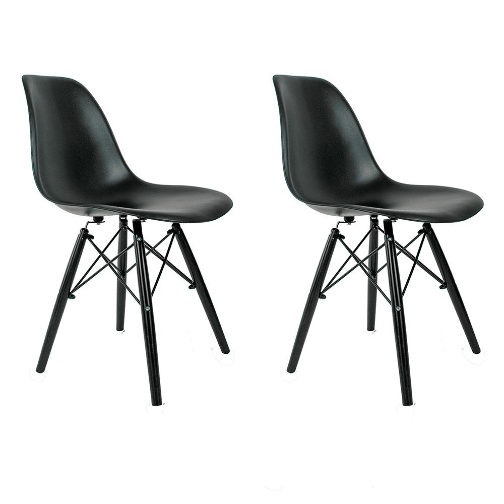 Conjunto com 2 Cadeiras Eames Black Edition - Base Preta