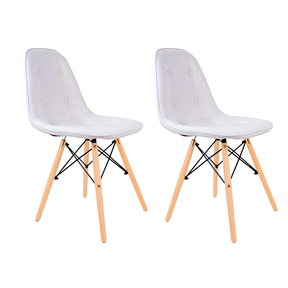 Conjunto com 2 Cadeiras Eames Botonê Branca - Base Madeira Natural