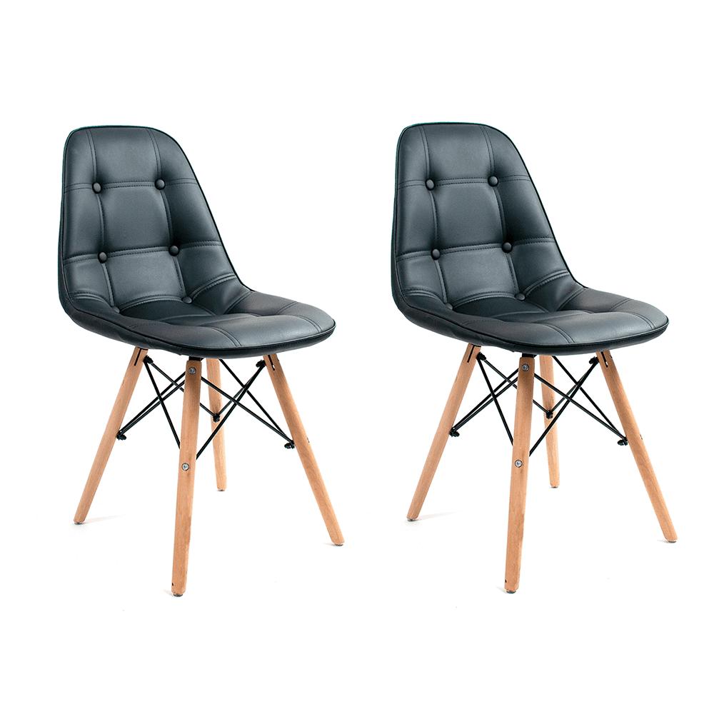 Conjunto com 2 Cadeiras Eames Botonê Preta - Base Madeira Natural