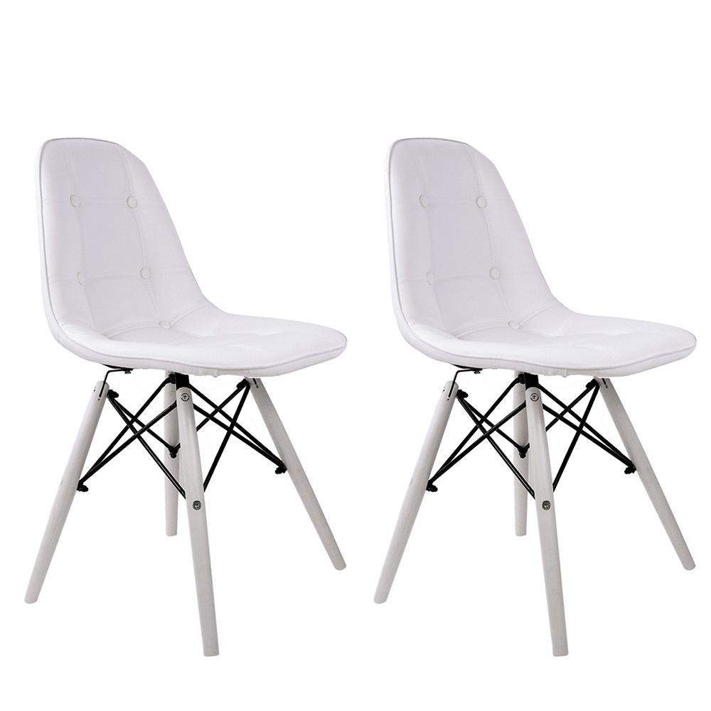 Conjunto com 2 Cadeiras Eames Botonê White Edition - Base Branca Polipropileno