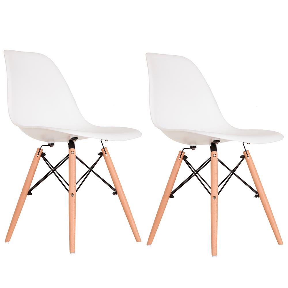 Conjunto com 2 Cadeiras Eames Branca - Base Madeira Natural