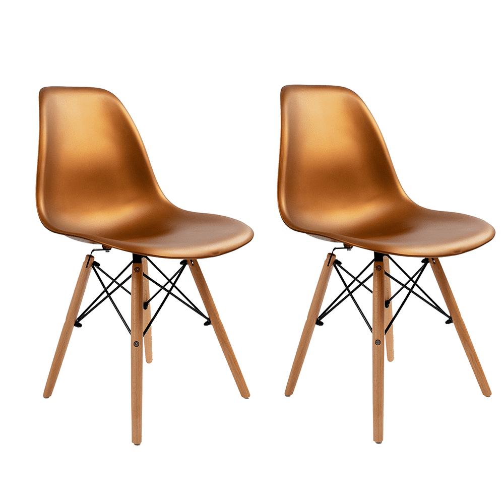 Conjunto com 2 Cadeiras Eames Bronze - Base Madeira Natural