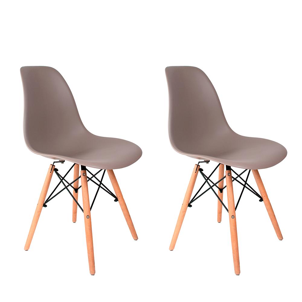 Conjunto com 2 Cadeiras Eames Cinza - Base Madeira Natural