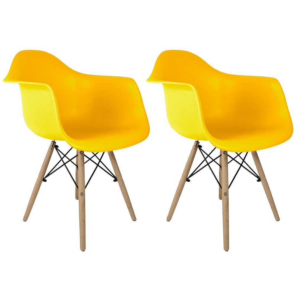 Conjunto com 2 Cadeiras Eames com Braços Amarela - Base Madeira Natural
