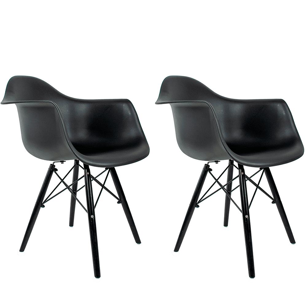 Conjunto com 2 Cadeiras Eames com Braços Black Edition - Base Preta Polipropileno