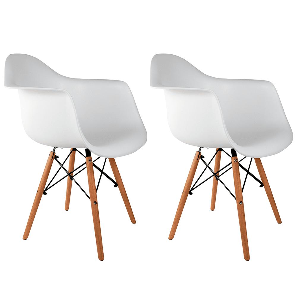 Conjunto com 2 Cadeiras Eames com Braços Branca - Base Madeira Natural