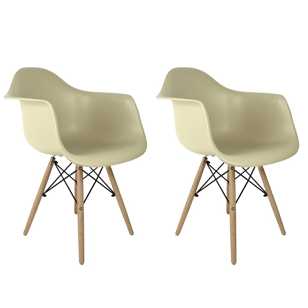 Conjunto com 2 Cadeiras Eames com Braços Fendi - Base Madeira Natural