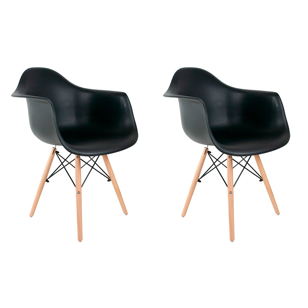 Conjunto com 2 Cadeiras Eames com Braços Preta - Base Madeira Natural