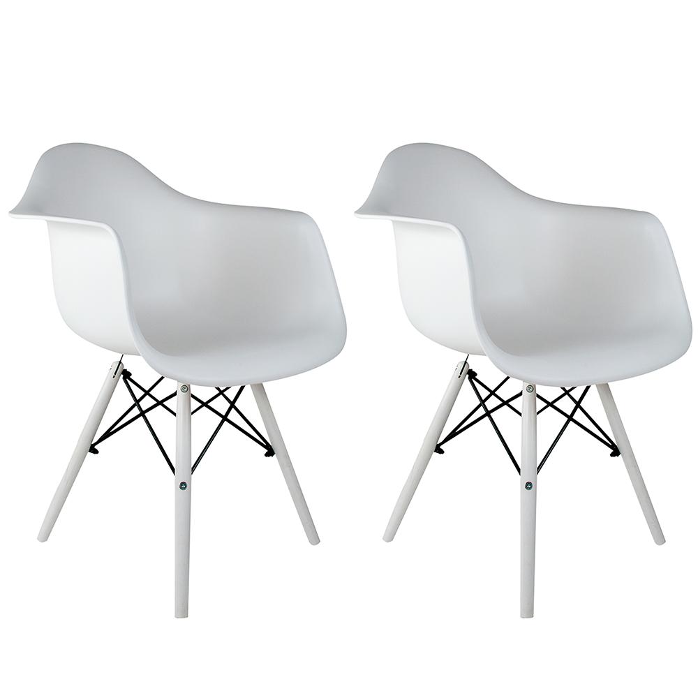 Conjunto com 2 Cadeiras Eames com Braços White Edition - Base Branca Polipropileno