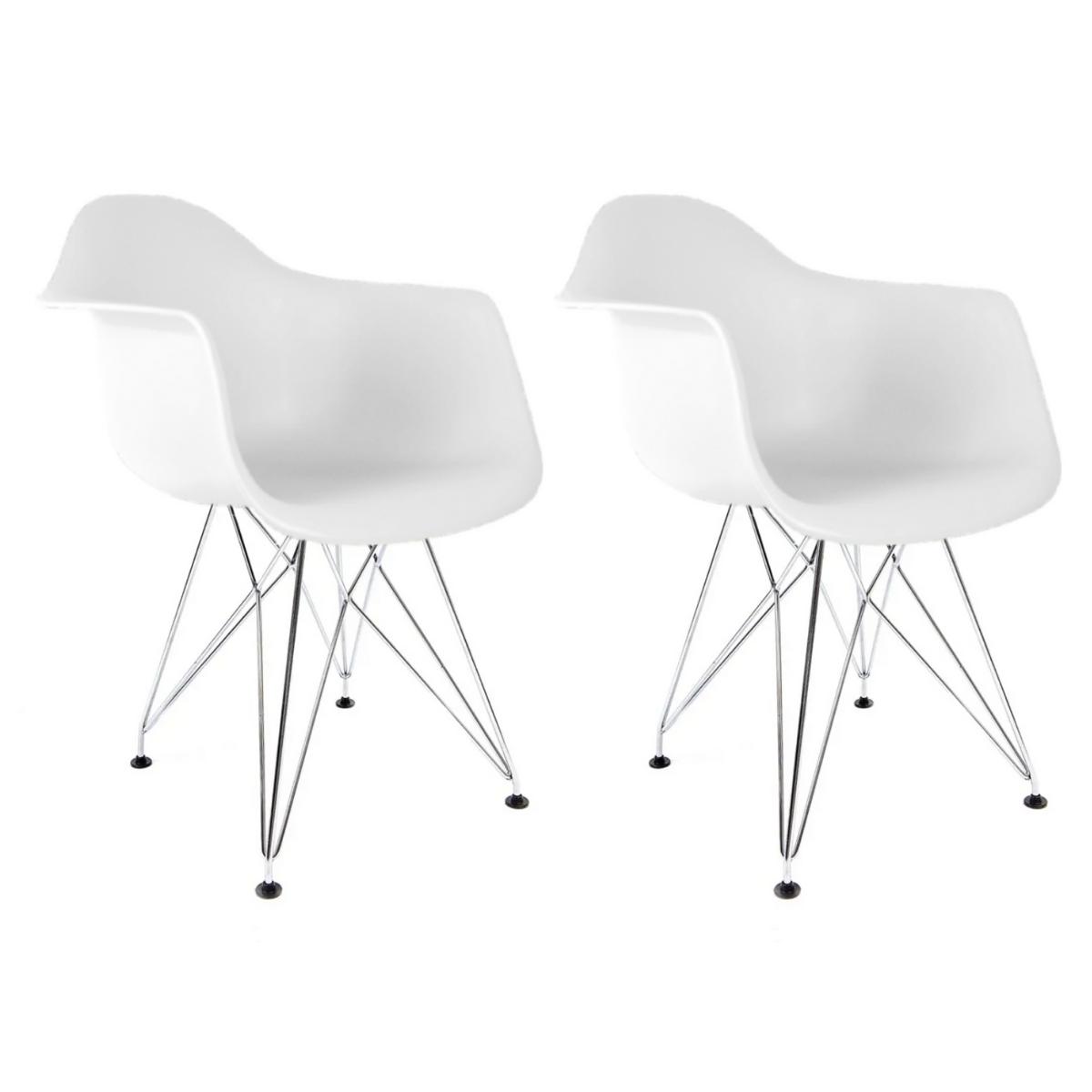Conjunto com 2 Cadeiras Eames com Braços Branca - Base Eiffel Cromado
