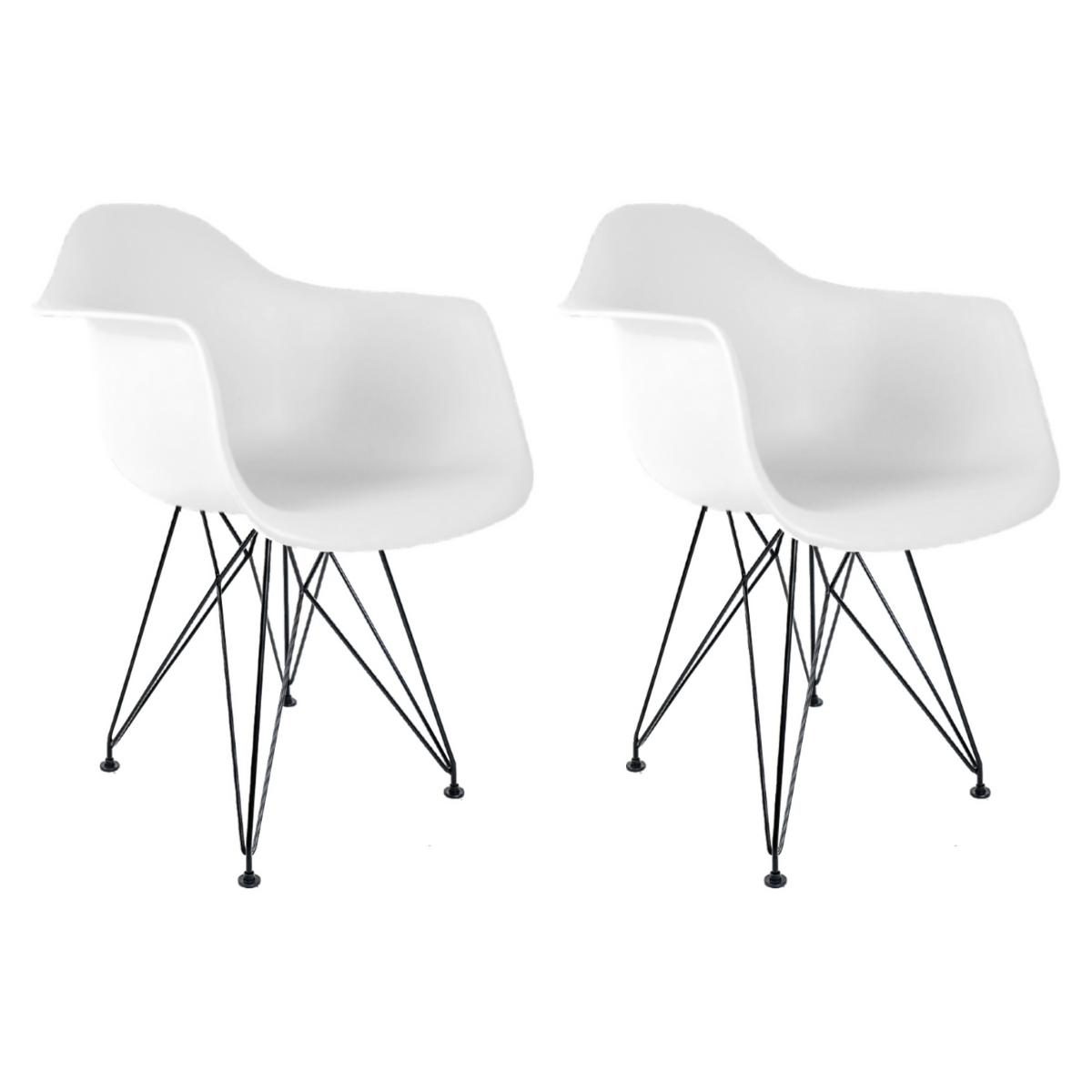 Conjunto com 2 Cadeiras Eames com Braços Branca - Base Eiffel Preta